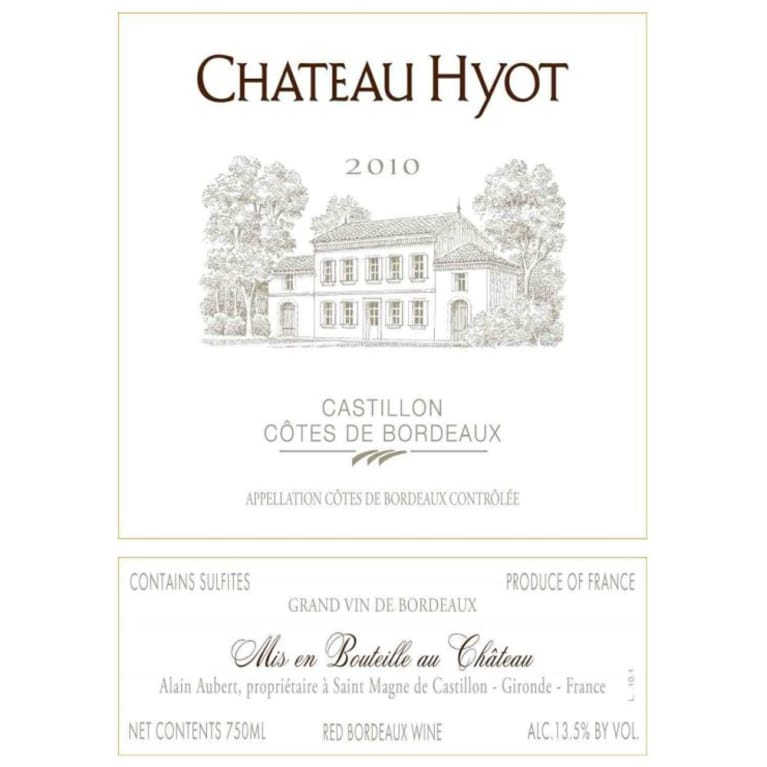Chateau Hyot  2010 Front Label