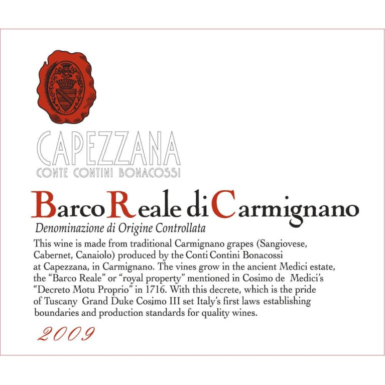 Capezzana Barco Reale 2009 Front Label