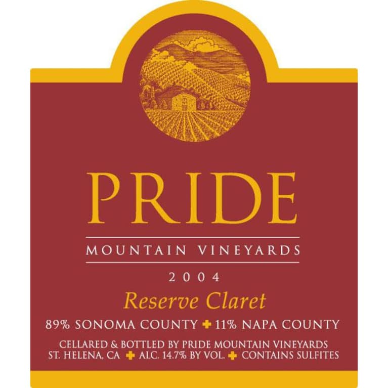 Pride Mountain Vineyards Reserve Claret 2004 Front Label