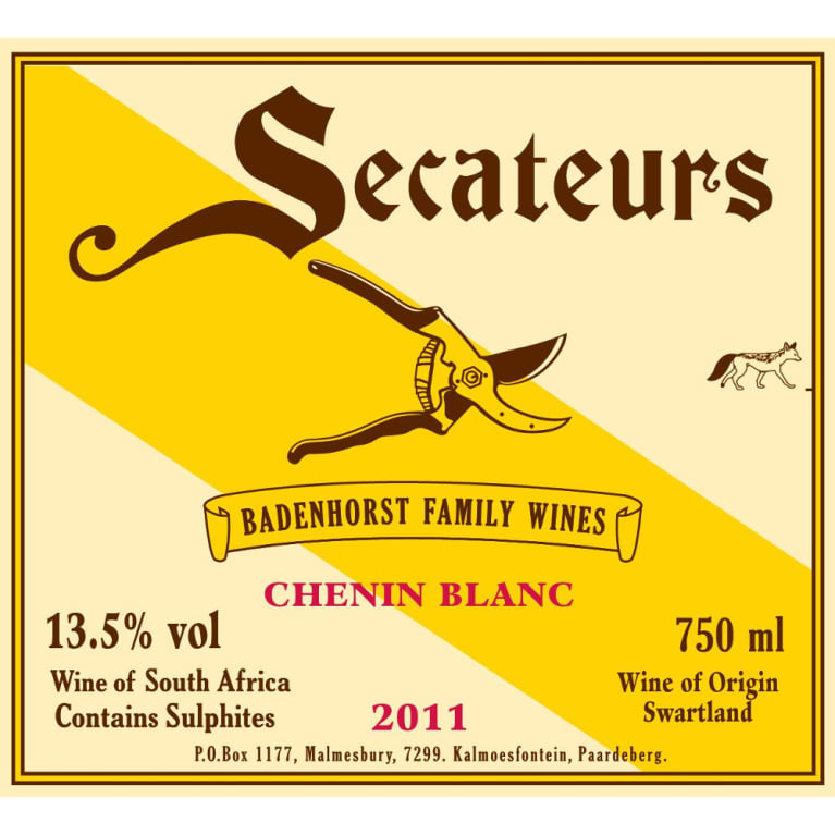 Badenhorst Secateurs Chenin Blanc 2011 Front Label