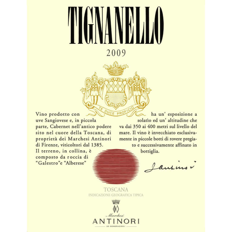 Antinori Tignanello (375ML half-bottle) 2009 Front Label