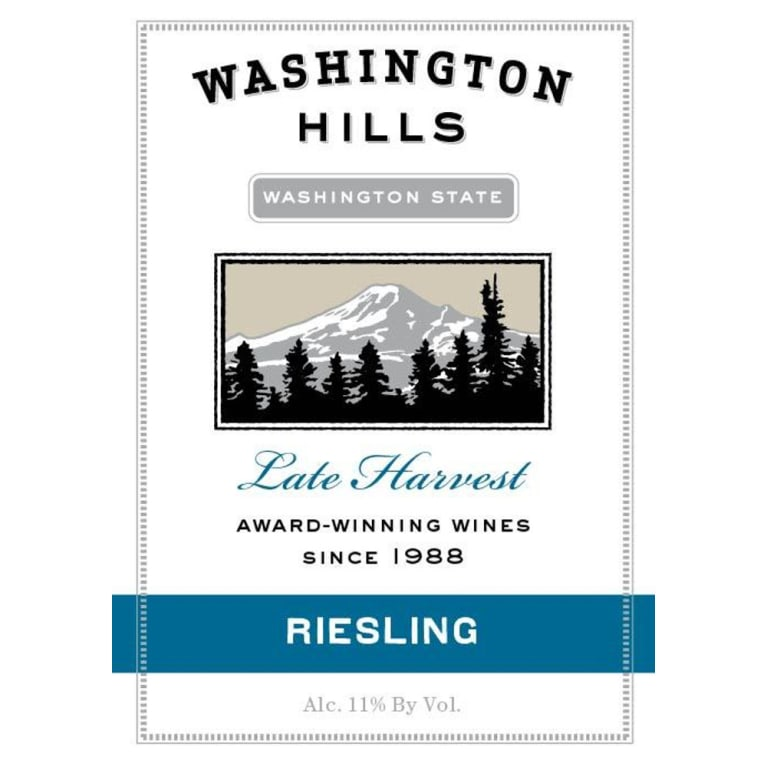 Washington Hills Late Harvest Riesling 2011 Front Label