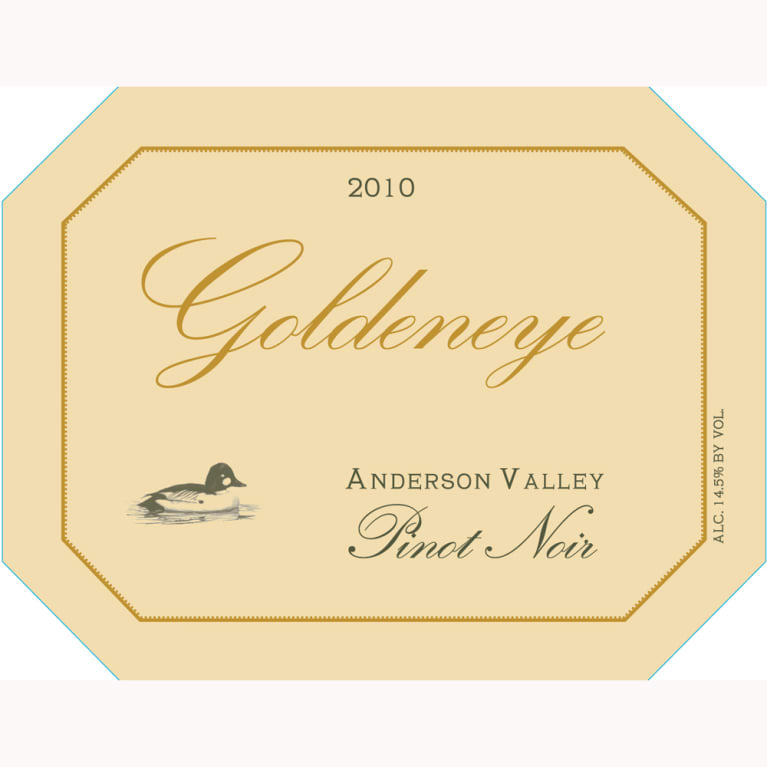 Goldeneye Anderson Valley Pinot Noir 2010 Front Label