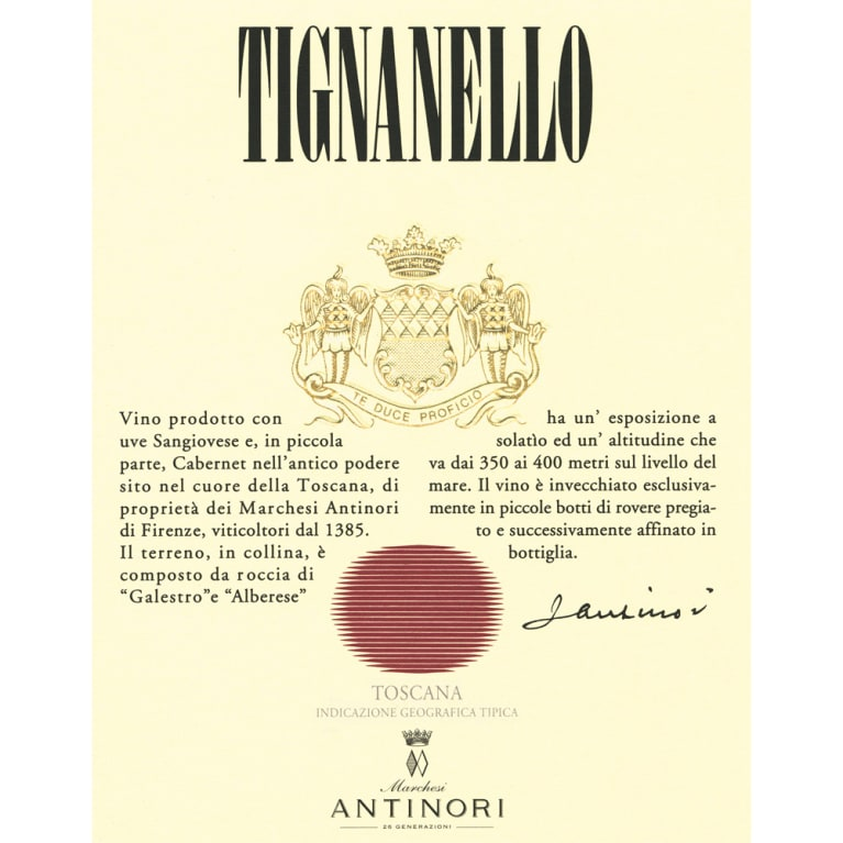 Antinori Tignanello 2010 Front Label