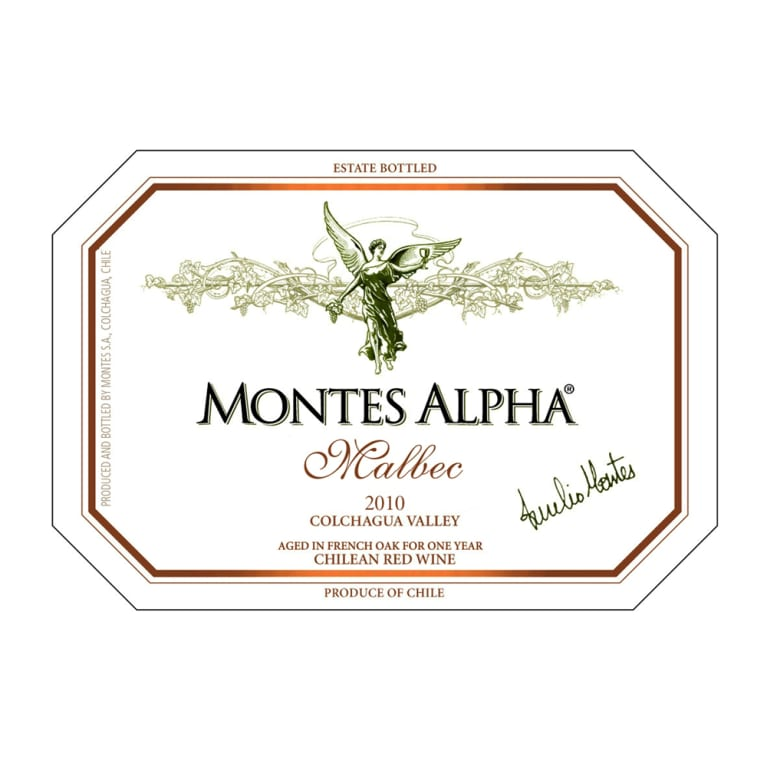Montes Alpha Series Malbec 2010 Front Label