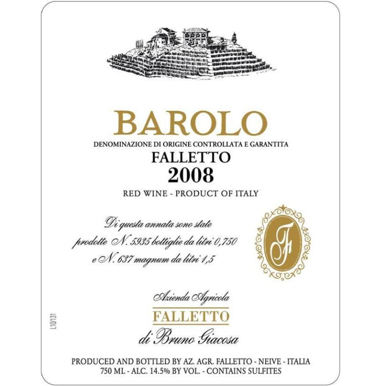 Bruno Giacosa Barolo Falletto 2008 Front Label