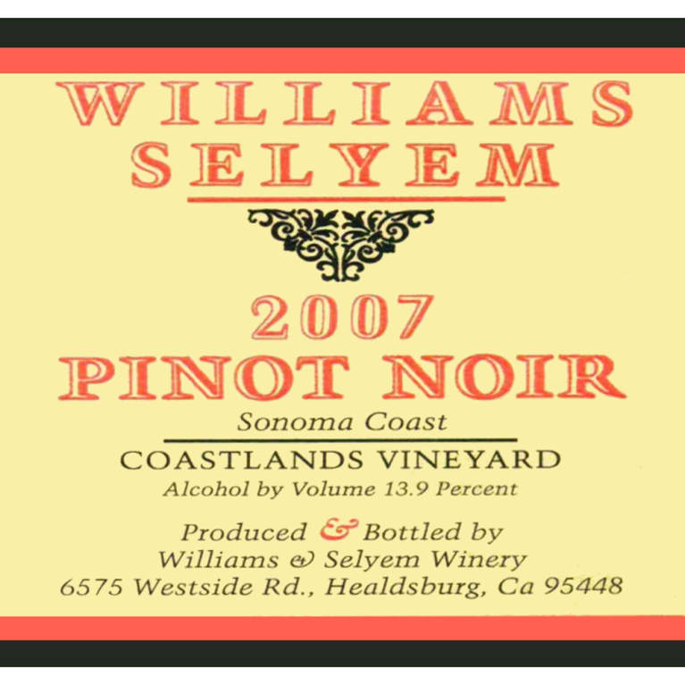 Williams Selyem Coastlands Pinot Noir 2007 Front Label