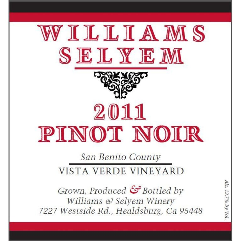 Williams Selyem Vista Verde Vineyard Pinot Noir 2011 Front Label