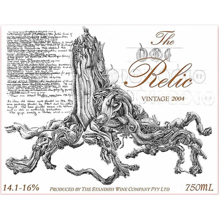 Standish The Relic Shiraz 2004 Front Label