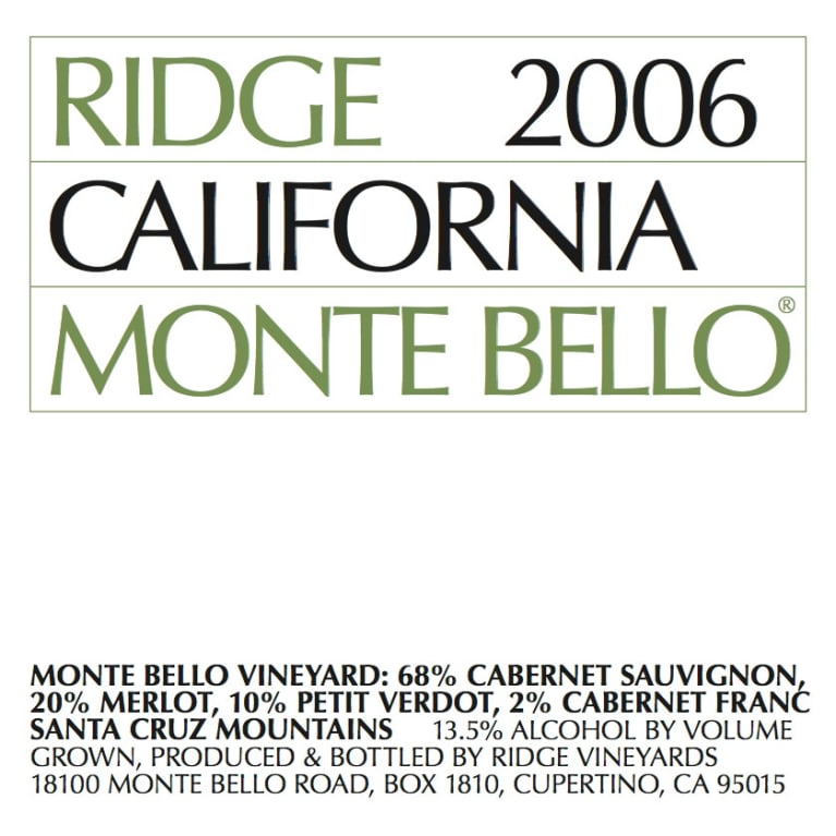 Ridge Monte Bello (stained label) 2006 Front Label