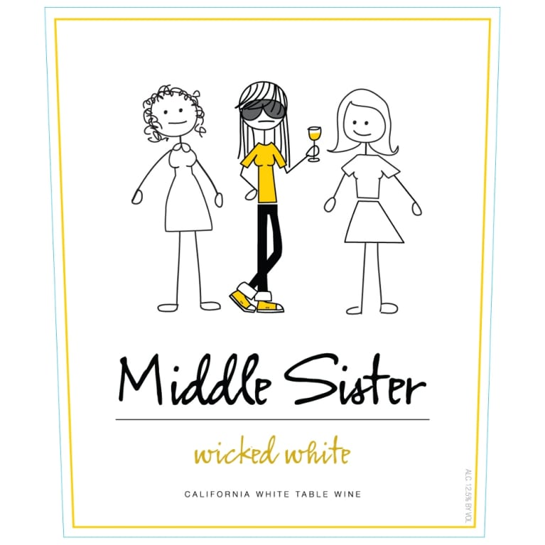 Middle Sister Wicked White Blend Front Label
