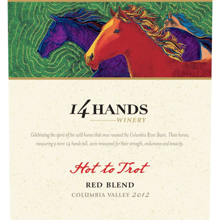 14 Hands Hot to Trot Red Blend 2012 Front Label