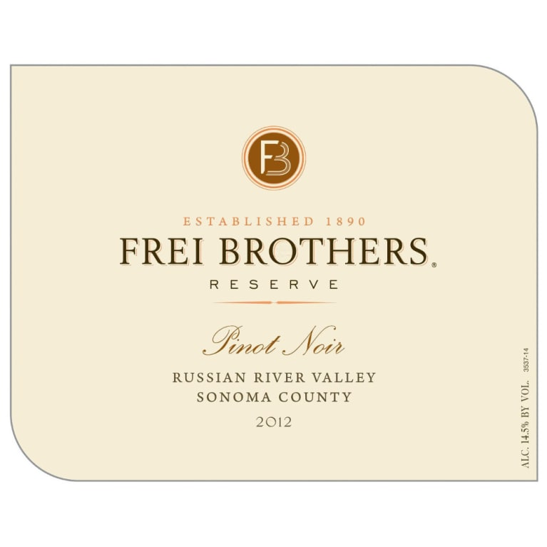 Frei Brothers Reserve Russian River Pinot Noir 2012 Front Label