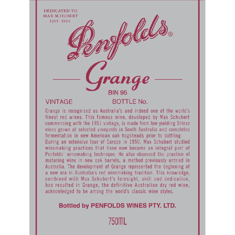 Penfolds Grange 2009 Front Label
