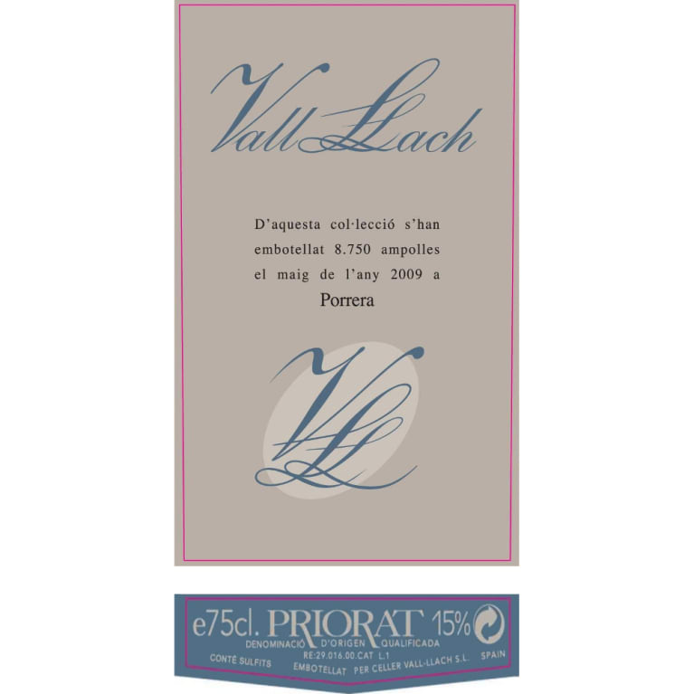 Vall Llach Priorat 2008 Front Label