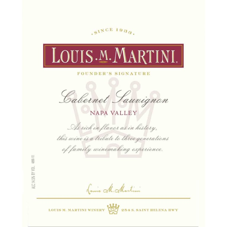 Louis Martini Napa Valley Cabernet Sauvignon 2012 Front Label
