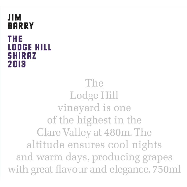 Jim Barry Lodge Hill Shiraz 2013 Front Label