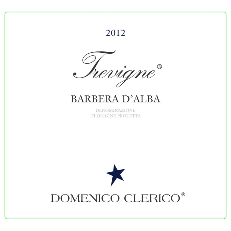 Domenico Clerico Trevigne Barbera d'Alba 2012 Front Label