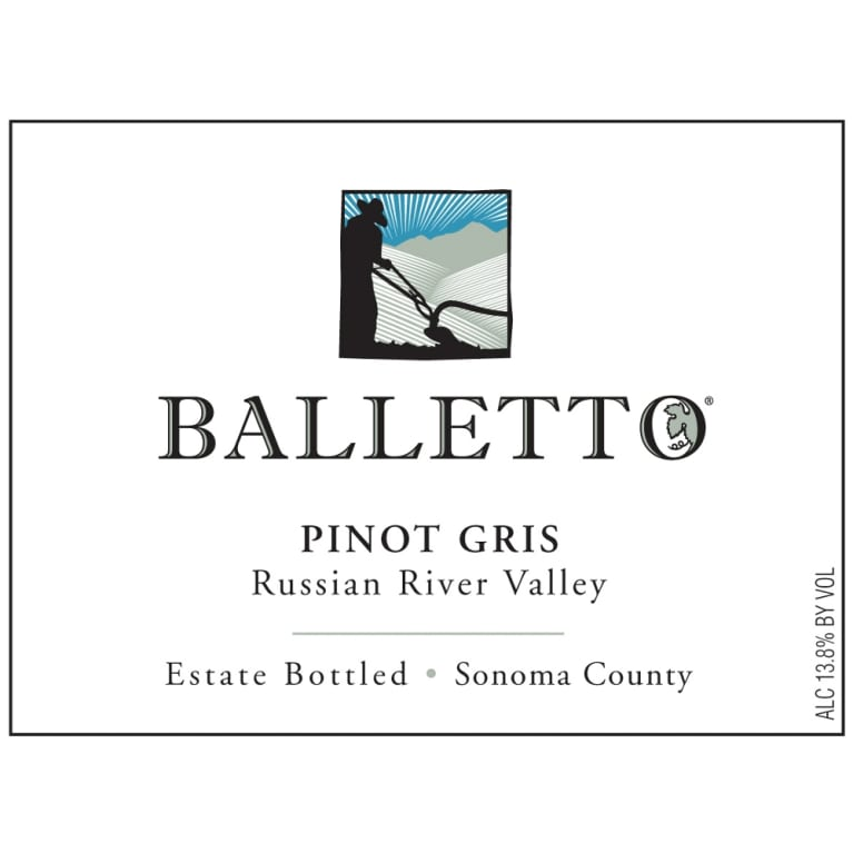 Balletto Winery Pinot Gris 2013 Front Label
