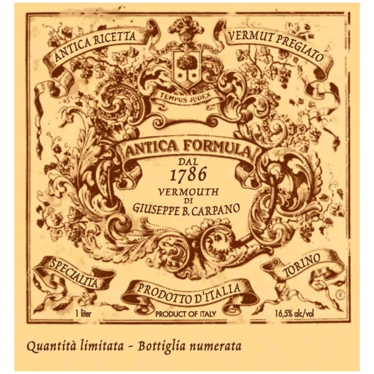 Carpano Antica Formula Sweet Vermouth (375ML half-bottle) Front Label