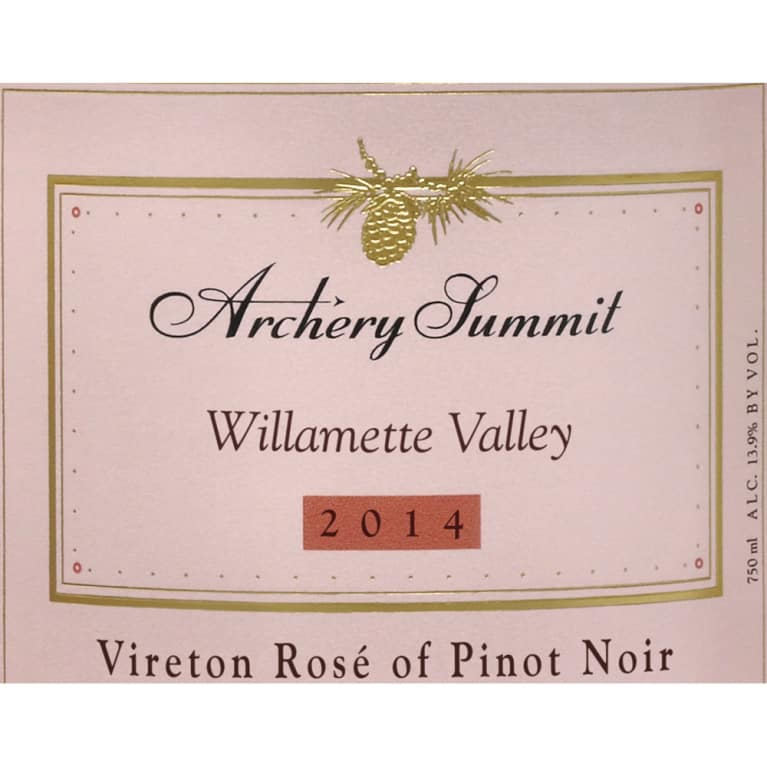 Archery Summit Vireton Rose 2014 Front Label