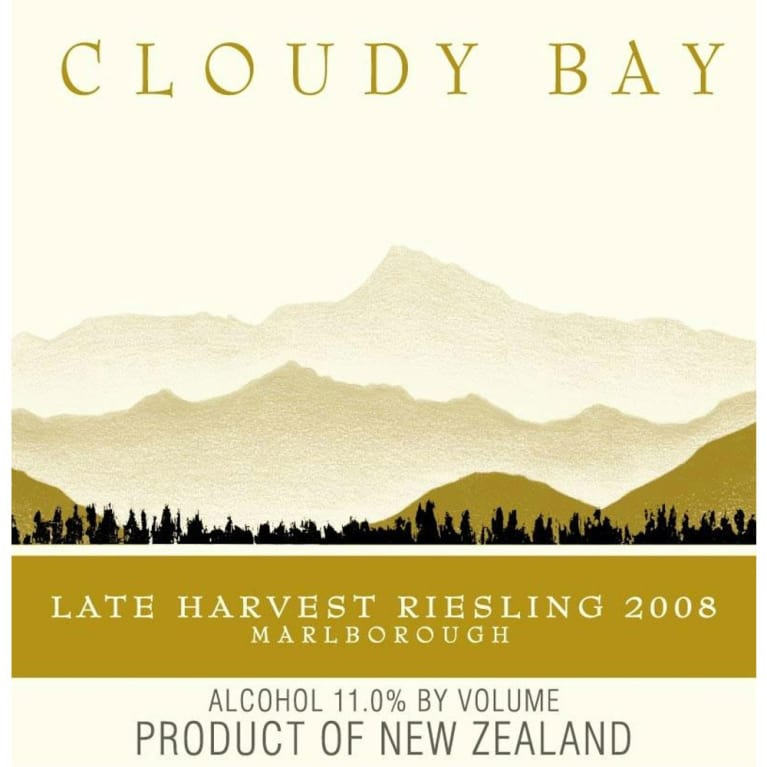 Cloudy Bay Late Harvest Riesling (375ML half-bottle) 2008 Front Label