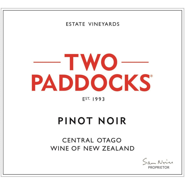 Two Paddocks Pinot Noir 2012 Front Label