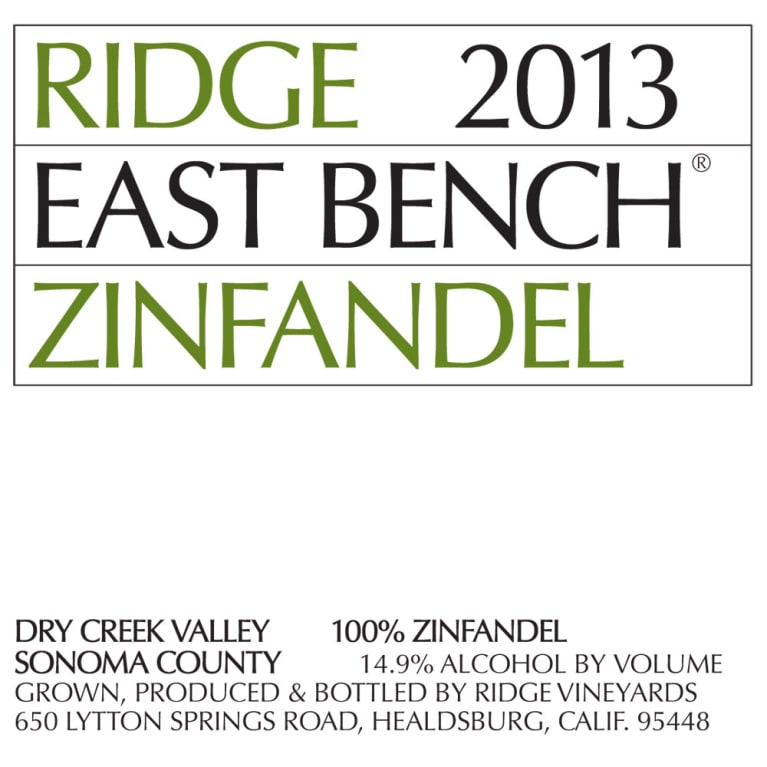 Ridge East Bench Zinfandel 2013 Front Label
