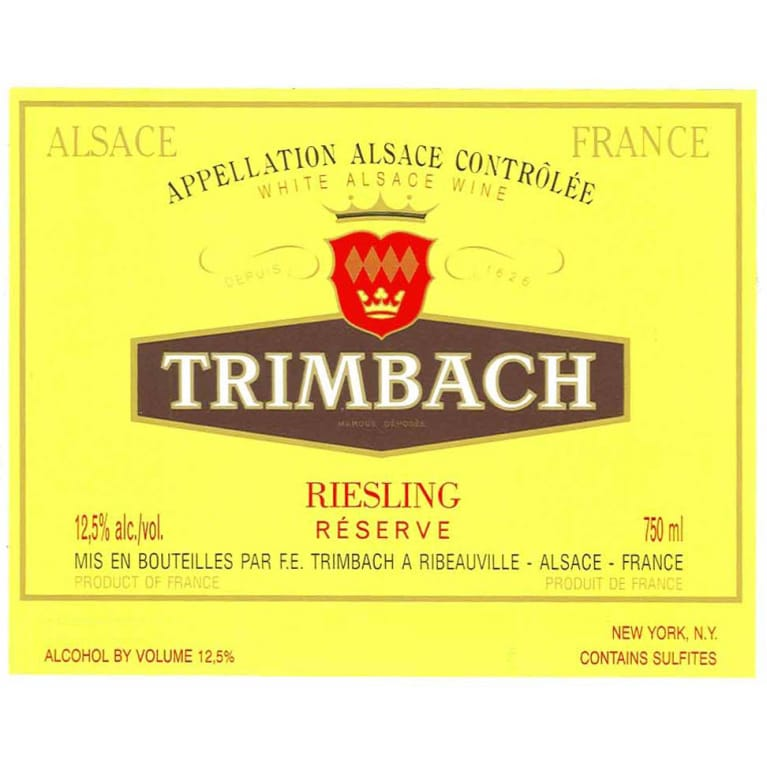 Trimbach Reserve Riesling 2012 Front Label