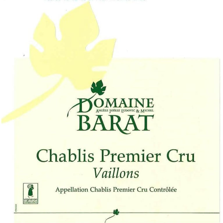 Domaine Barat Premier Cru Vaillons Chablis (375ML half-bottle) 2013 Front Label