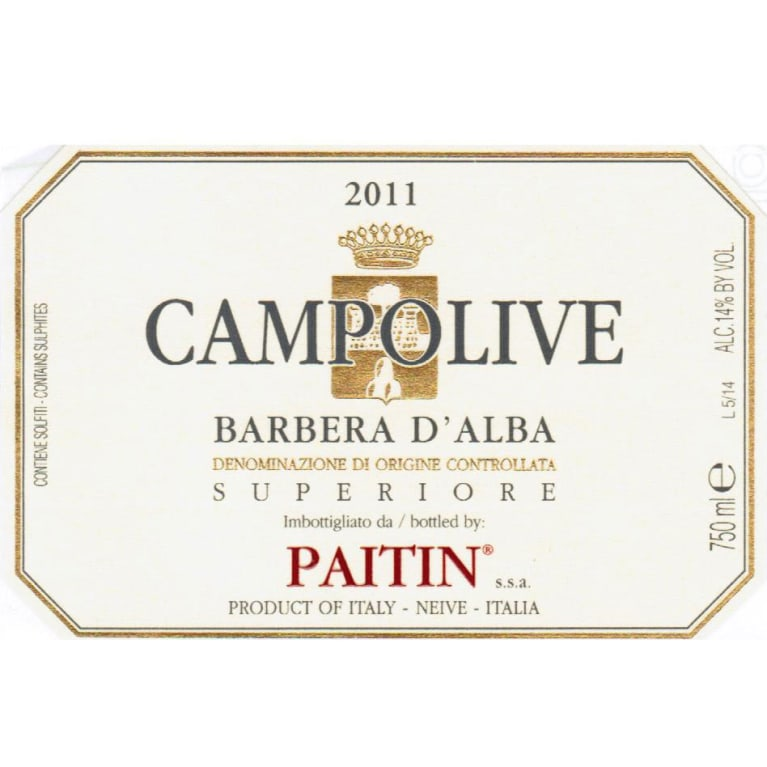 Paitin Barbera d'Alba Campolive 2010 Front Label