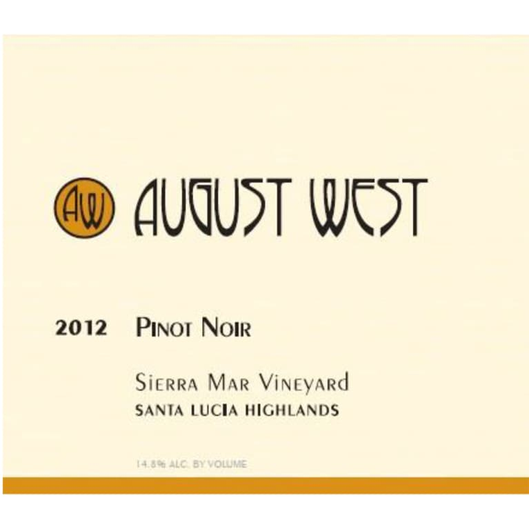 August West Sierra Mar Pinot Noir 2012 Front Label