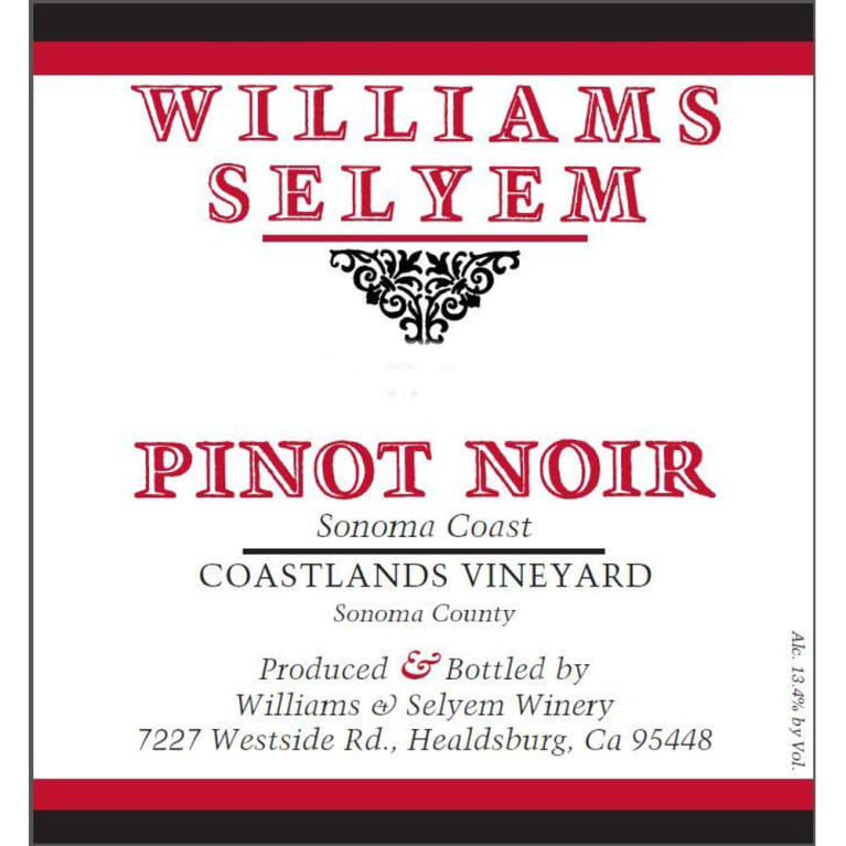 Williams Selyem Coastlands Pinot Noir 2013 Front Label