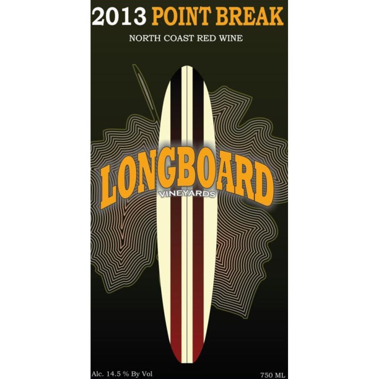 Longboard Point Break Red Blend 2013 Front Label