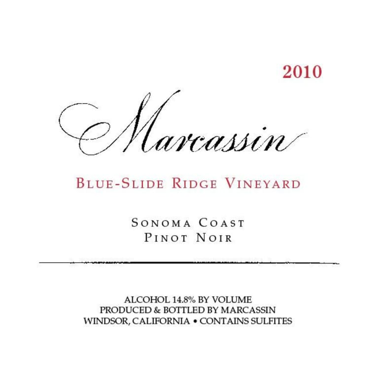 Marcassin Blue Slide Ridge Pinot Noir 2010 Front Label