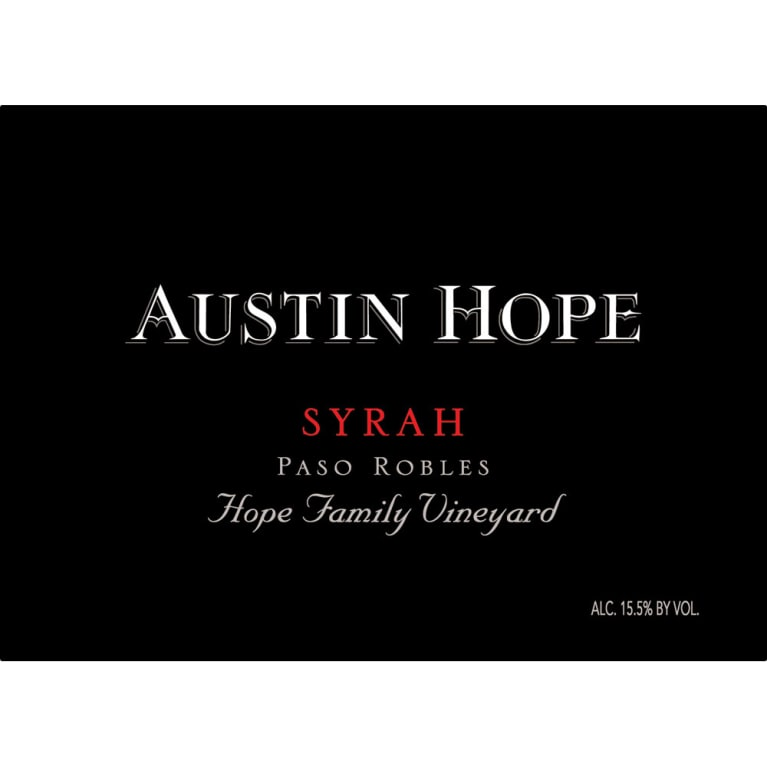 Austin Hope Syrah 2013 Front Label