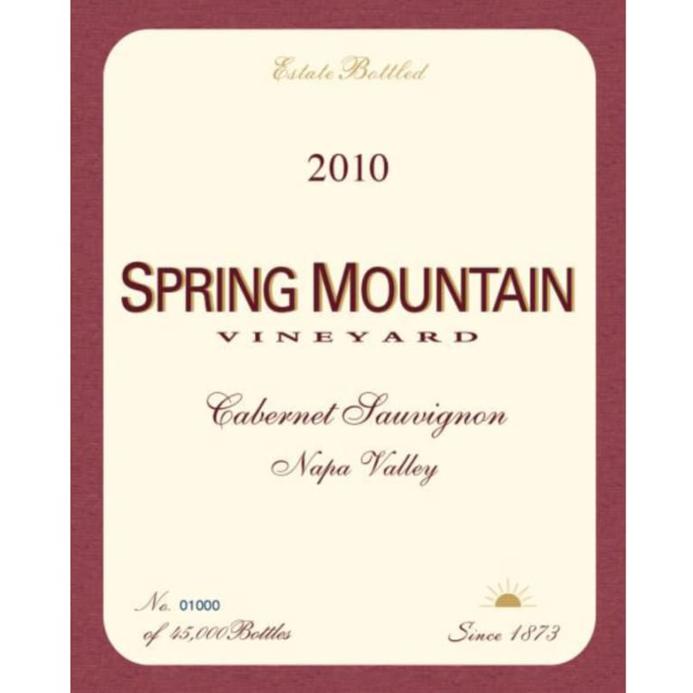 Spring Mountain Vineyard Estate Cabernet Sauvignon 2010 Front Label