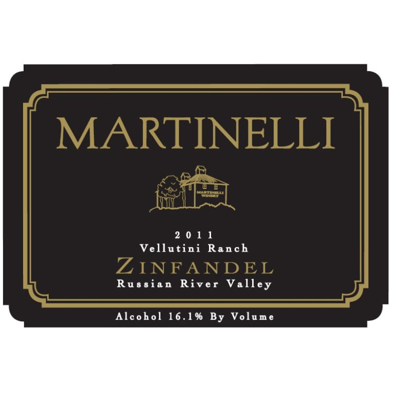 Martinelli Vellutini Ranch Zinfandel 2011 Front Label