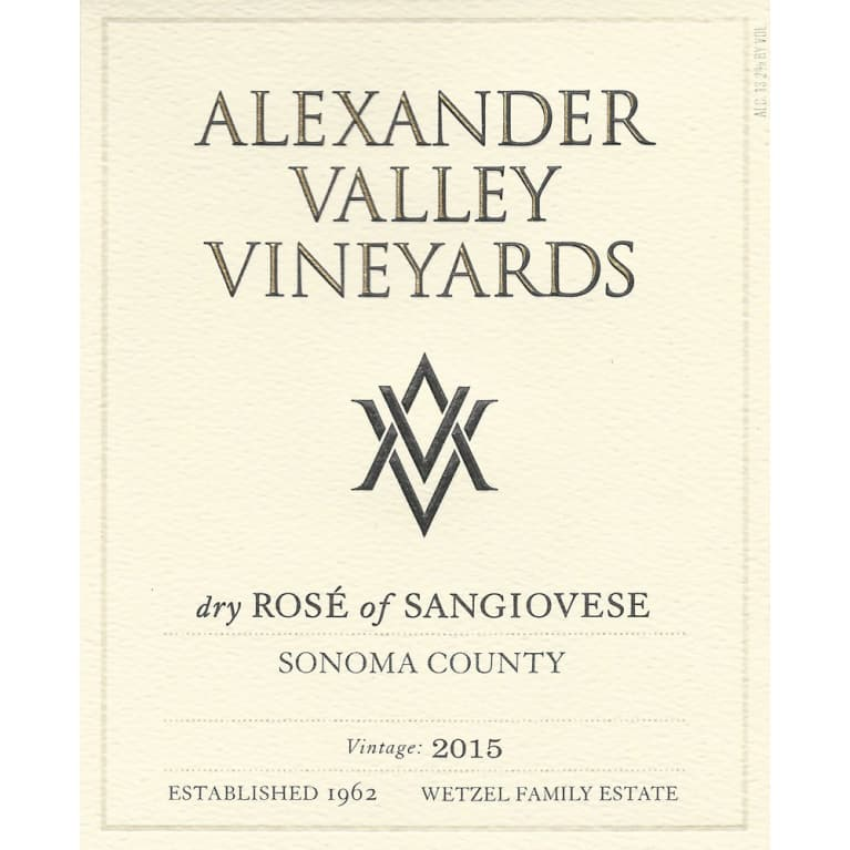 Alexander Valley Vineyards Dry Rose of Sangiovese 2015 Front Label