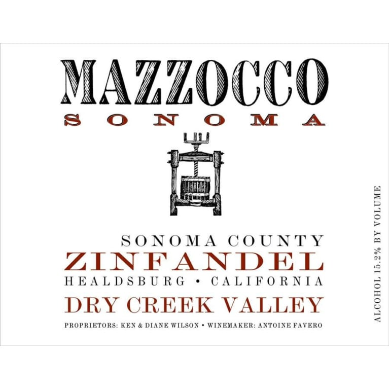 Mazzocco Dry Creek Zinfandel 2013 Front Label