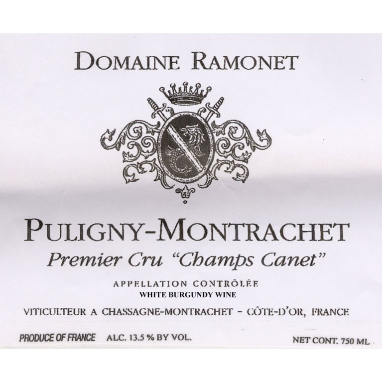 Domaine Ramonet Puligny-Montrachet Premier Cru Champs-Canet (stained label) 2002 Front Label