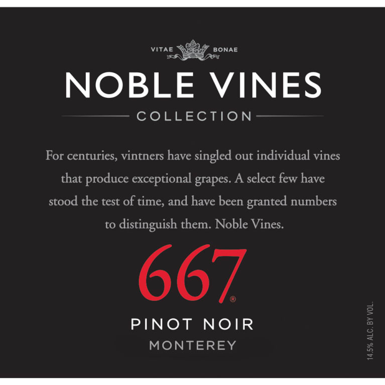 Noble Vines 667 Pinot Noir 2014 Front Label