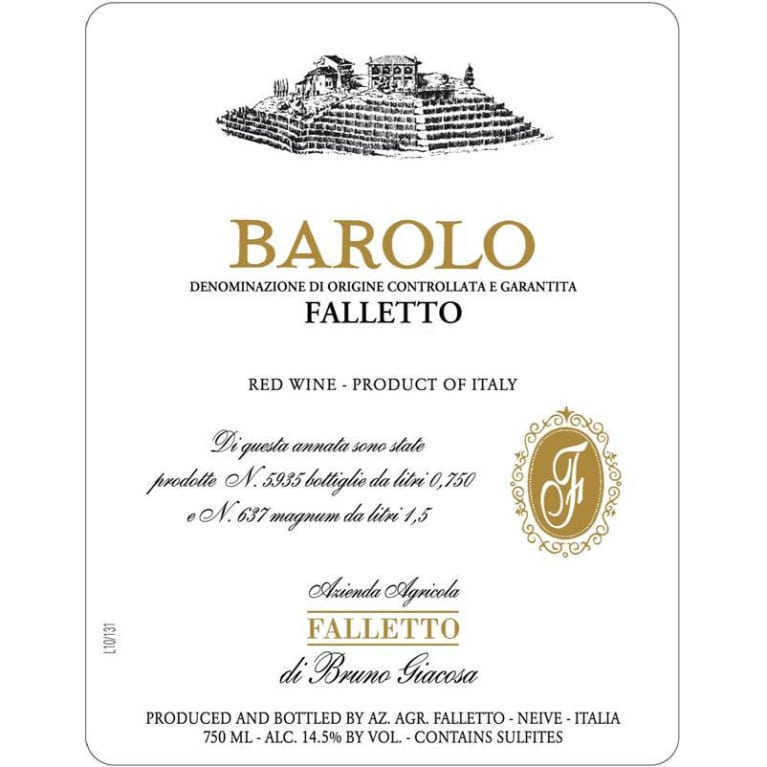 Bruno Giacosa Barolo Falletto 2012 Front Label