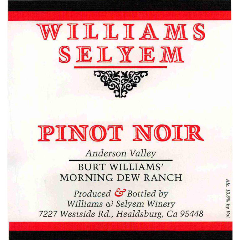 Williams Selyem Burt Williams Morning Dew Ranch Pinot Noir 2014 Front Label