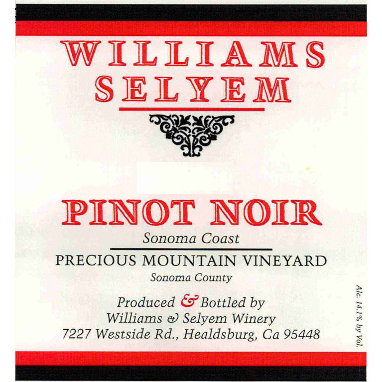 Williams Selyem Precious Mountain Pinot Noir 2014 Front Label
