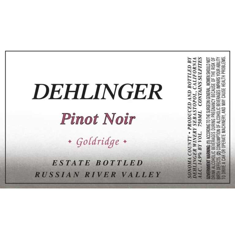 Dehlinger Goldridge Pinot Noir 2009 Front Label