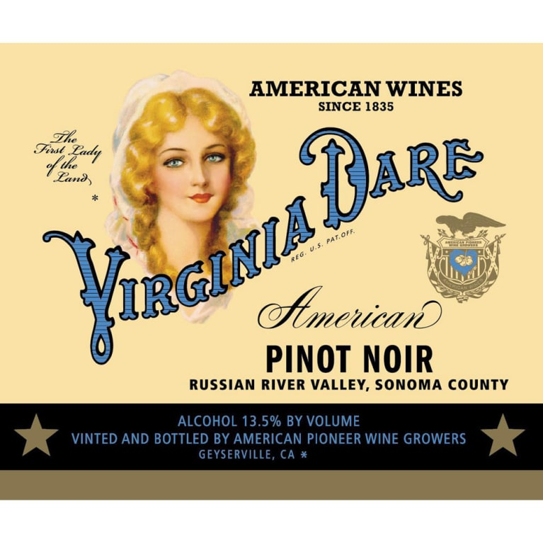 Virginia Dare Winery Pinot Noir 2015 Front Label