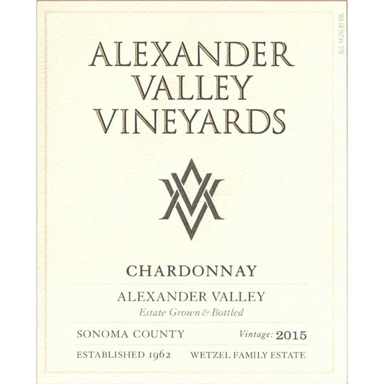 Alexander Valley Vineyards Estate Chardonnay 2015 Front Label