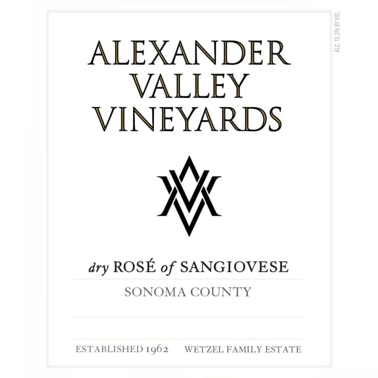 Alexander Valley Vineyards Dry Rose of Sangiovese 2016 Front Label