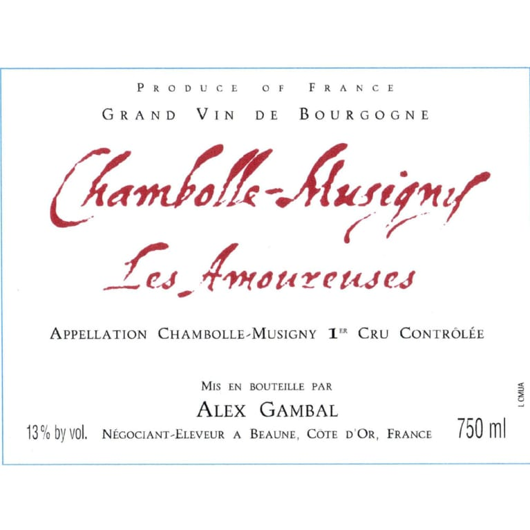 Alex Gambal Chambolle Musigny Les Amoureuses 2005 Front Label